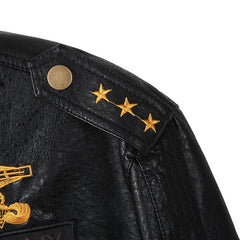 Unique Outfit for MenEmbroidery Military PU Leather Jacket Men's