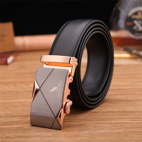 Leather Belt with Automatic Locking Feature in Gold, Silver, and Tungsten - Unique Outfit for Men