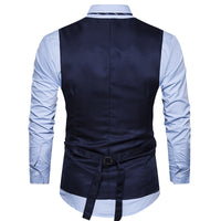Two Pieces Mens Double Breasted Waistcoat Slim Fit