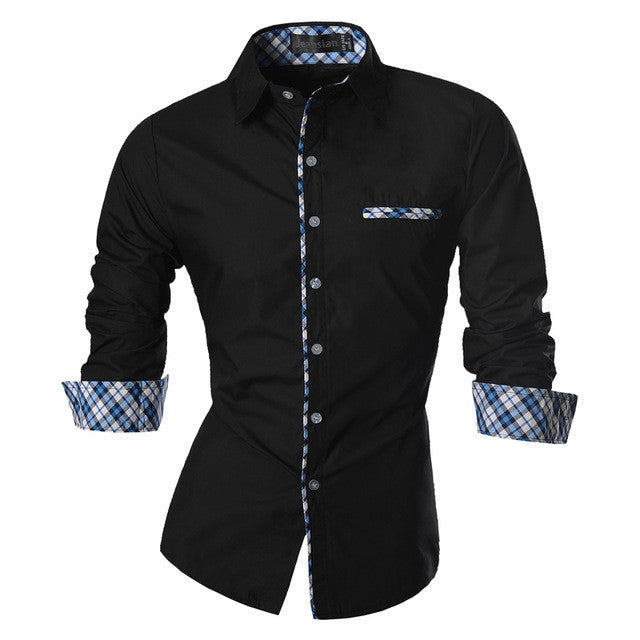 New Men's Dress Shirt with Plaid-Lining - Unique Outfit for Men