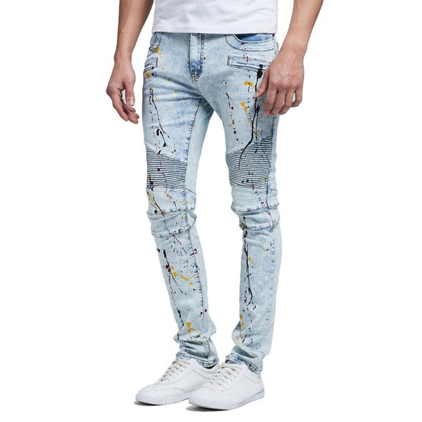 Unique Outfit for MenDenim Skinny Jeans with Paint Splatters