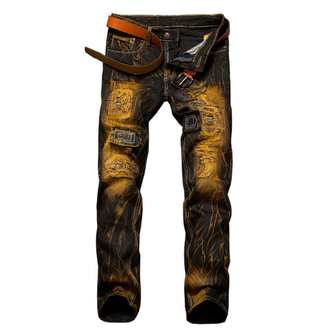 Men's Retro Patchwork Denim Jeans - Unique Outfit for Men