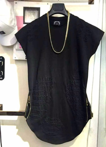 Unique Outfit for MenCurved Hem Ripped Tee Shirts Destroyed Style