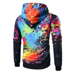 Rainbow Splash Hooded Pullovers 3D Printed - Unique Outfit for Men