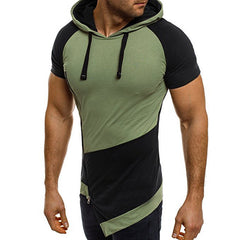 Unique Outfit for MenPatchwork Short Sleeve Hooded T Shirt