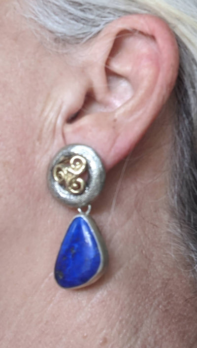Sterling Silver Earrings with 14kt Gold and Lapis