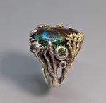 Fine Yowah Opal Sterling Silver Ring with 14kt Gold