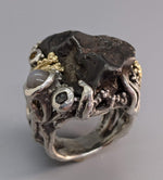 Sikhote Alin Meteorite Sterling Silver Ring with 14kt Gold