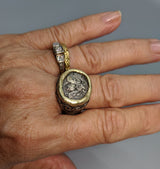 Ephesus Bee Drachm Sterling Silver Ring with Gold Bezel