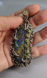 Fine Yowah Opal, Sterling Silver and 14kt Gold Pendant
