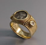 Janiform, AR Diobol, 14kt Gold Ring