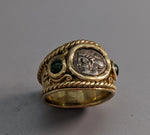 Ancient AR Triobol, 14kt Gold Wide Band Ring
