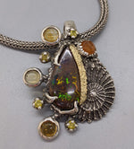 Yowah Opal Sterling Silver Pendant with 14kt Gold
