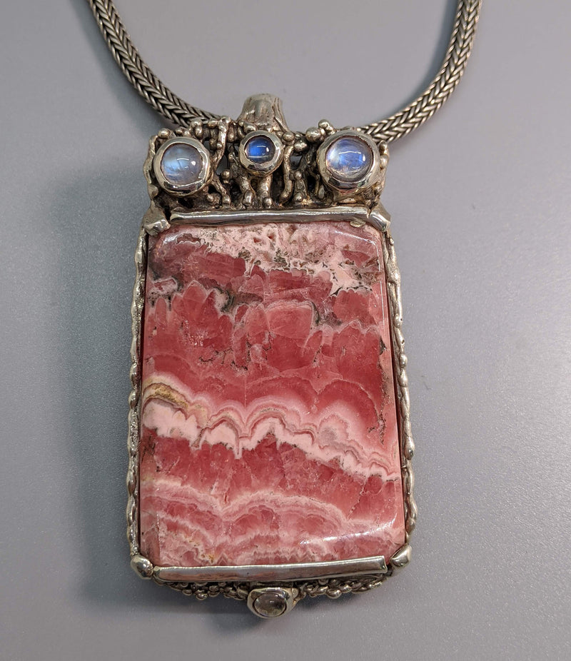 Large Rhodochrosite Sterling Silver Pendant with Rainbow Moonstones