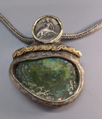 Taras, AR Nomos, Sterling Silver Pendant with 14kt Gold and Bactrian Glass