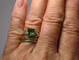 Fine Tsavorite Garnet 14kt Gold Ring with Rose Cut Diamonds