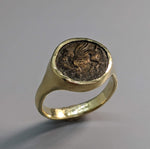 Ancient Bronze, Pegasus 14kt Gold Ring