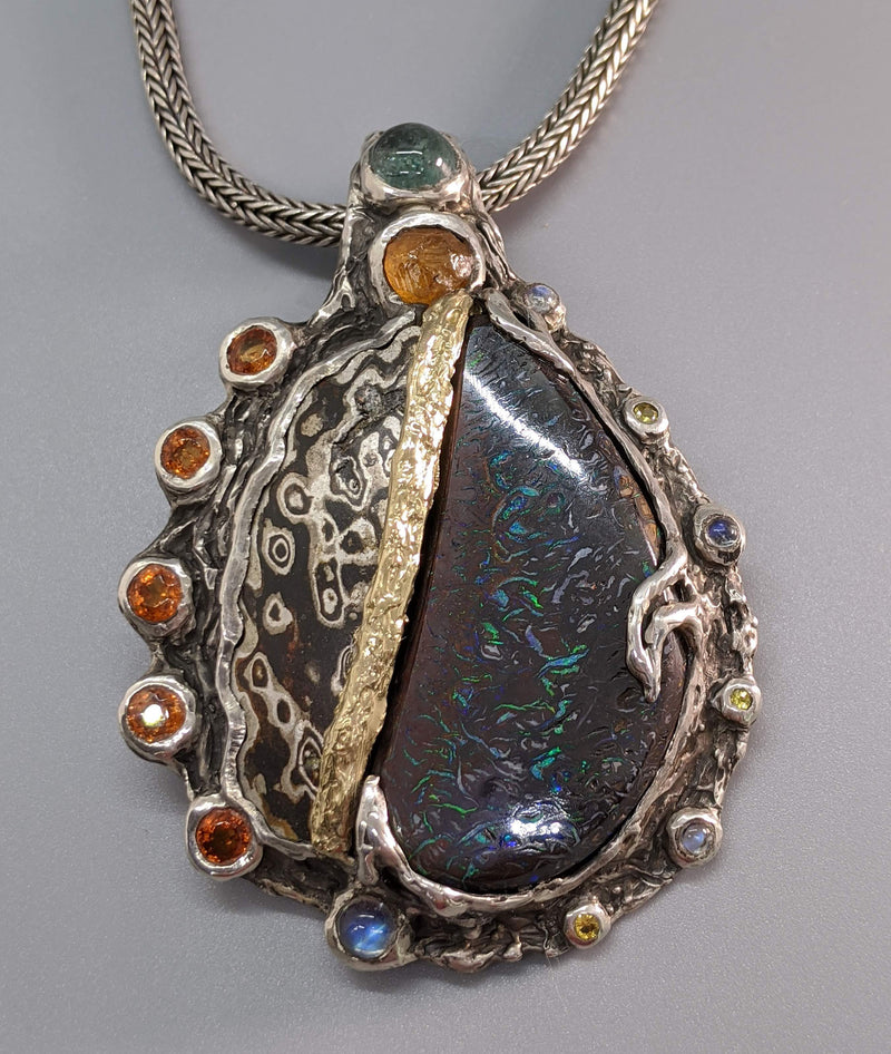 Yowah Opal Mokume Gane Sterling Silver Pendant with 14kt Gold