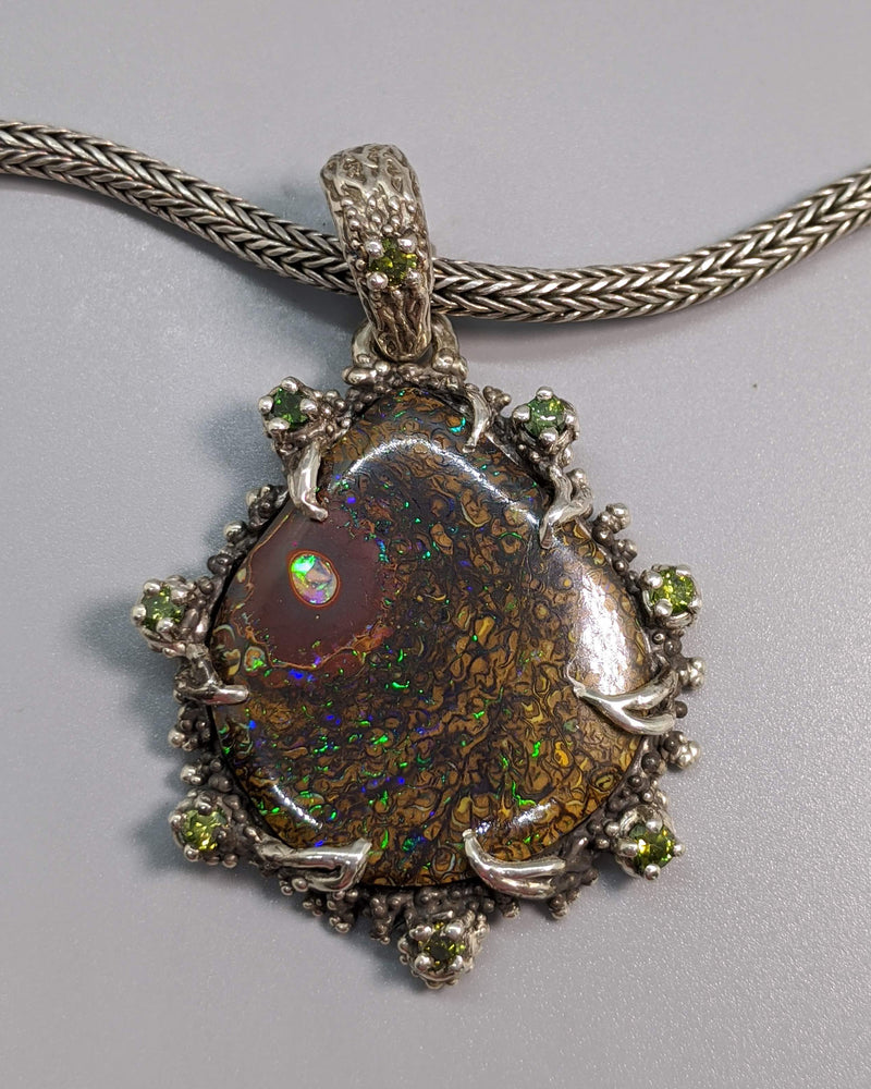 Yowah Opal Sterling Silver Pendant with Green Diamonds
