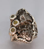 Sikhote Alin Meteorite Sterling Silver Ring with Yellow Diamonds