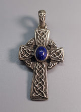 Lapis Sterling Silver Celtic Cross