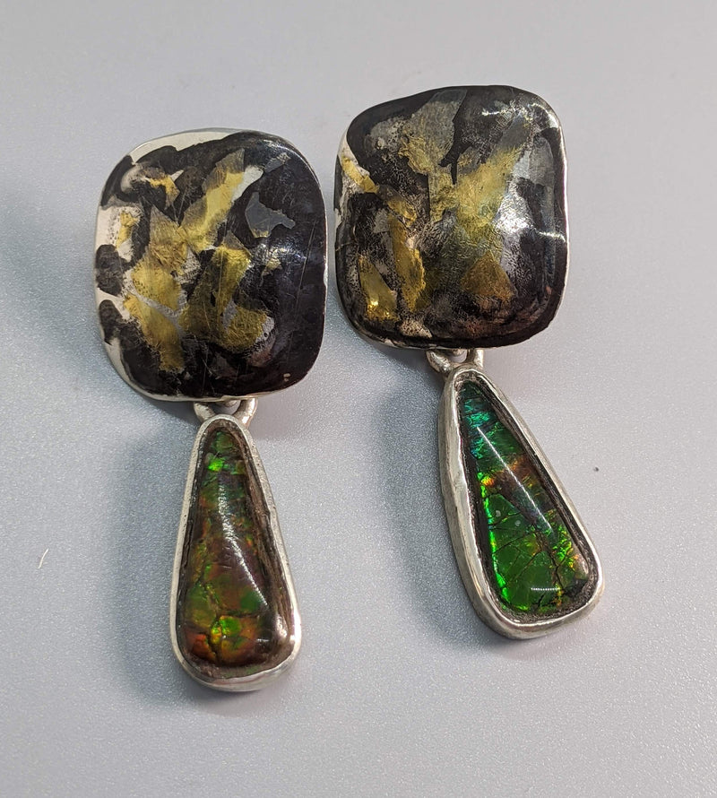 Keum Boo and Ammolite Sterling Silver Earrings