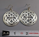 Book of Kells, Large Celtic Knotwork Sterling Silver Earrings with Rim