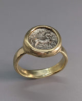 Ancient Pony AR Trihemiobol 14kt Gold Ring