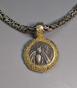 Ancient Ephesus Bee, AR Hemidrachm, 14kt Gold Pendant