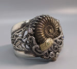 Ammonite Sterling Silver Jurassic Classic Bracelet with 14kt Gold