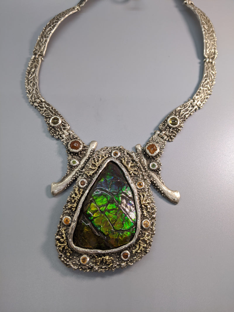 Ammolite Sterling Silver Necklace with 14kt Gold