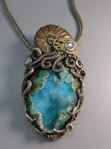 Ammonite and Drusy Chrysocolla, Sterling Silver and 14kt Gold Jurassic Classic Pendant