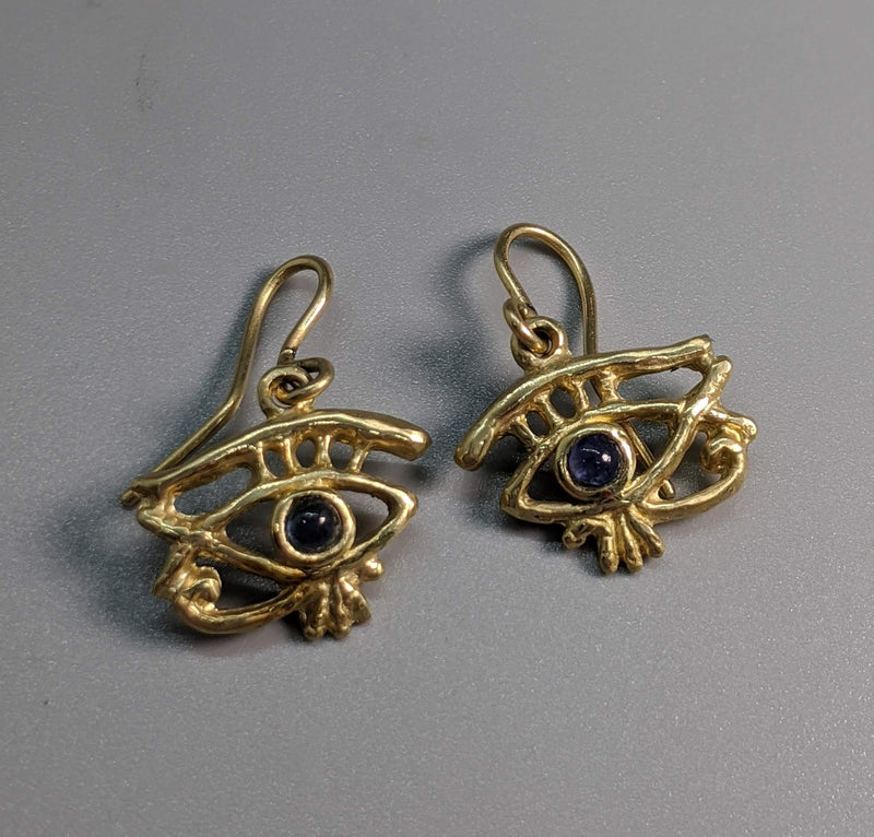 14kt Gold Eye of Horus Earrings with Sapphires