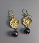 14kt Gold Ancient Coin Replica Earrings, Celtic Pony