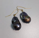Large Dark Gray Brown Fresh Water Pearl 14kt Gold Earrings
