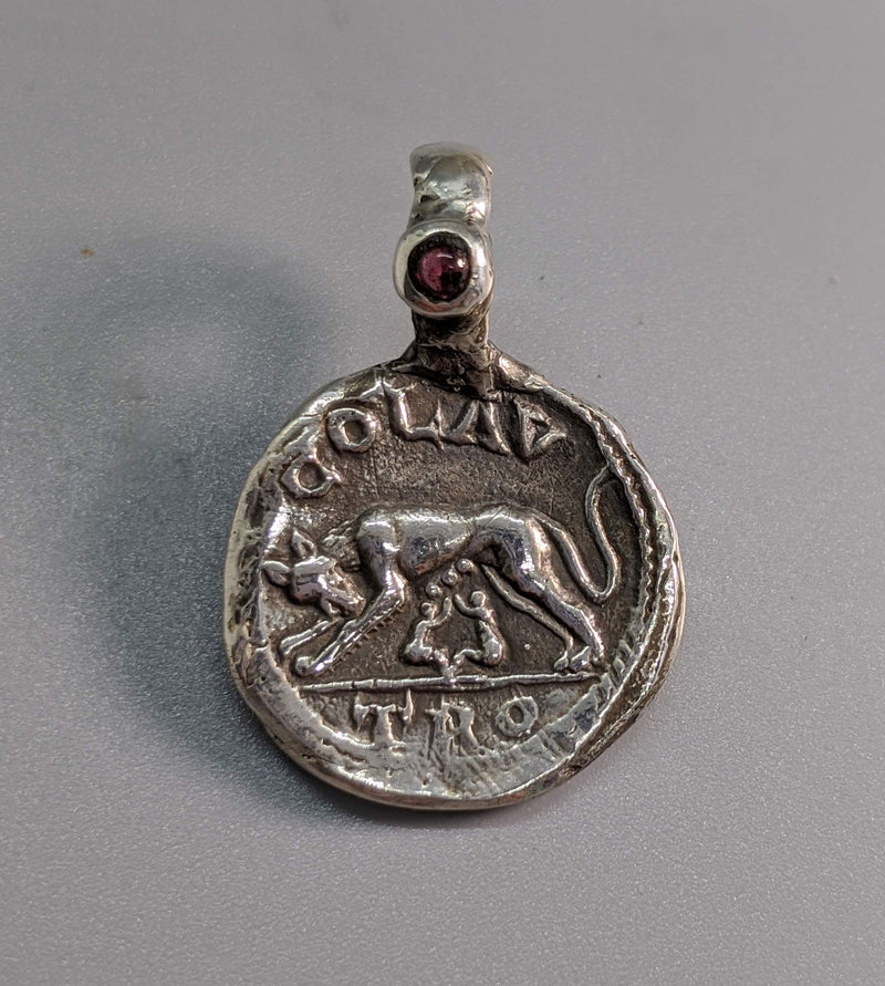 Sterling Silver Ancient Coin Replica, Roma She-Wolf