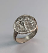 Sterling Silver Ancient Coin Replica Ring, Larissa