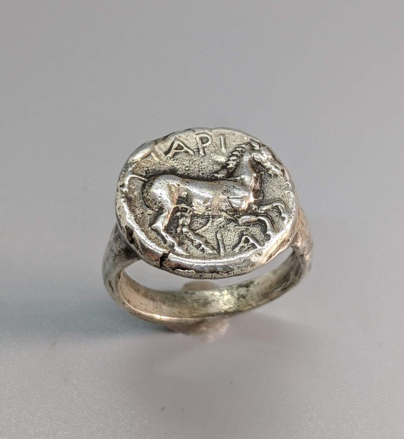 Sterling Silver Ancient Coin Replica Ring, Pony