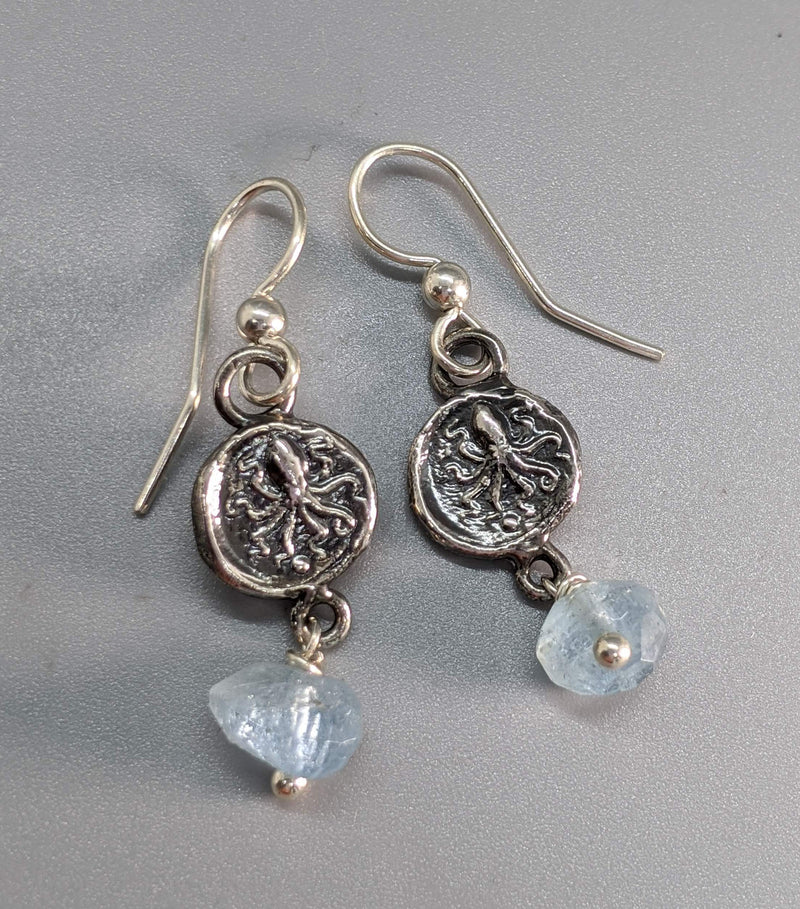Sterling Silver Ancient Coin Replica Earrings, Octopus