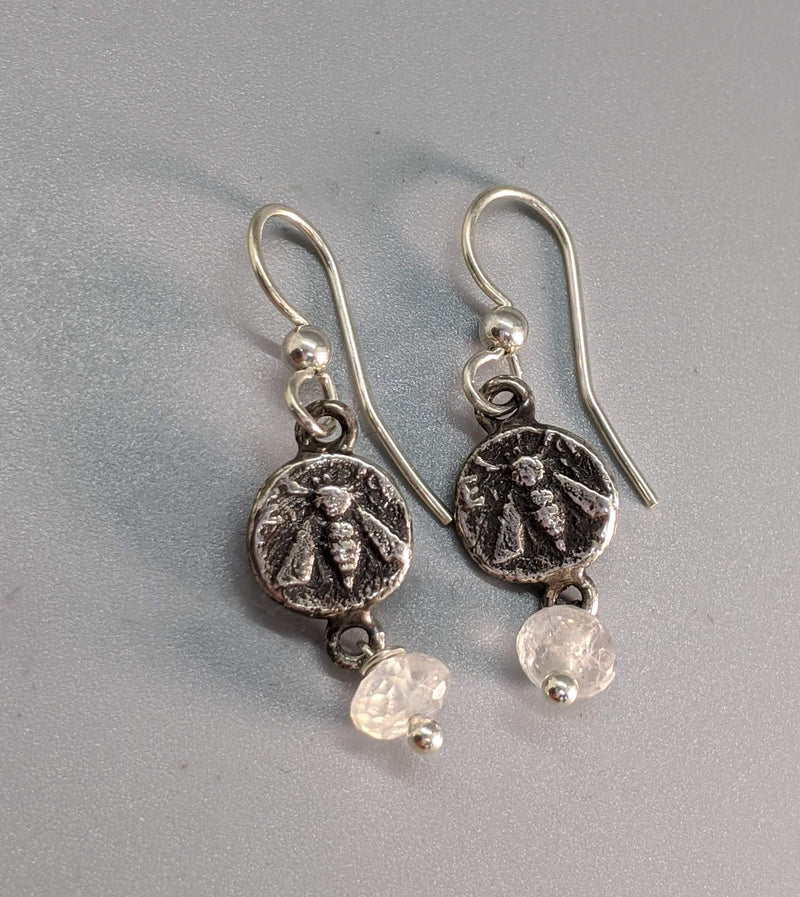 Sterling Silver Ancient Coin Replica Earrings, Ephesus Bee