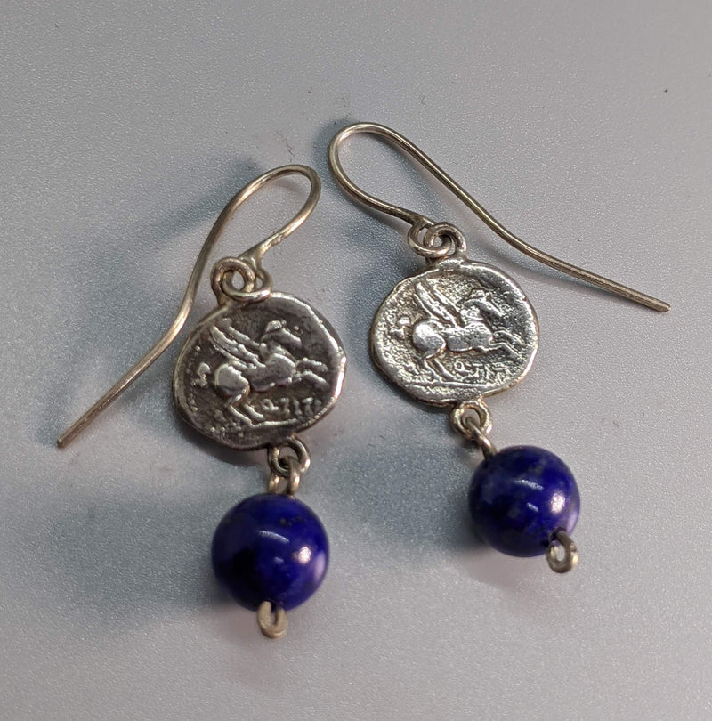 Sterling Silver Ancient Coin Replica Earrings, Pegasus