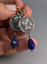 Sterling Silver Ancient Coin Replica Earrings, Venus