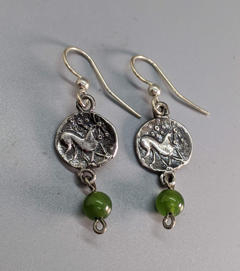 Sterling Silver Ancient Coin Replica Earrings, Celtic Pony