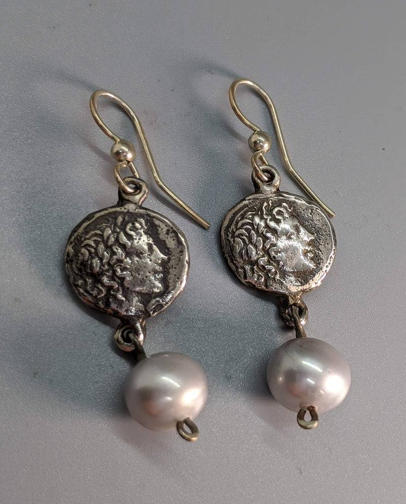 Sterling Silver Ancient Coin Replica Earrings, Apollo