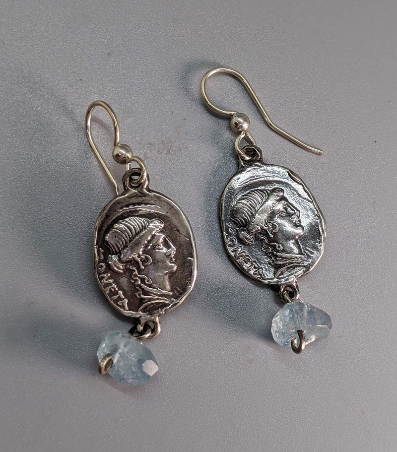 Sterling Silver Ancient Coin Replica Earrings, Moneta