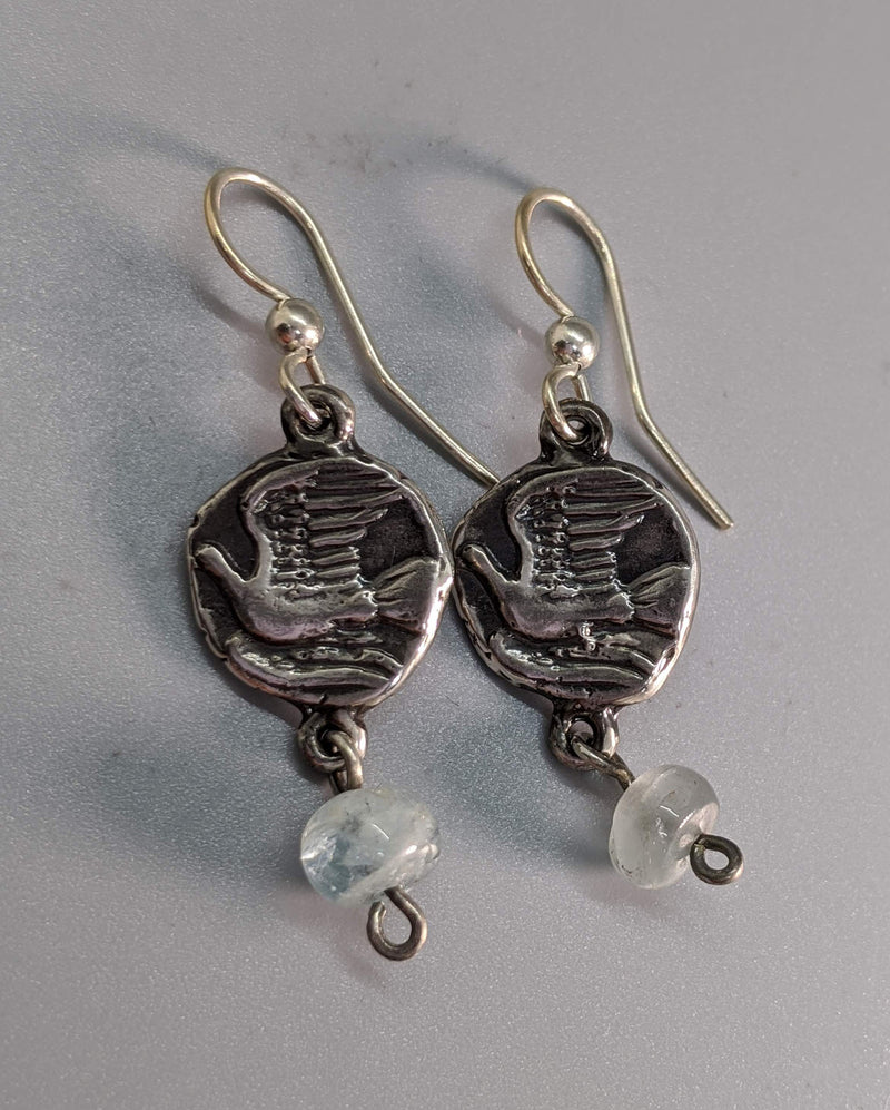 Sterling Silver Ancient Coin Replica Earrings, Dove
