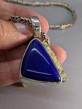 Lapis Sterling Silver Pendant with 14kt Gold Strip
