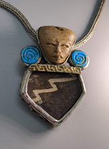 Teotihuacan Head, Pottery Shard Silver Pendant with Turquoise and Gold Strip