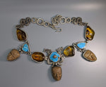Pre-Columbian Teotihuacan Heads, Amber, Turquoise, Sterling Silver Necklace
