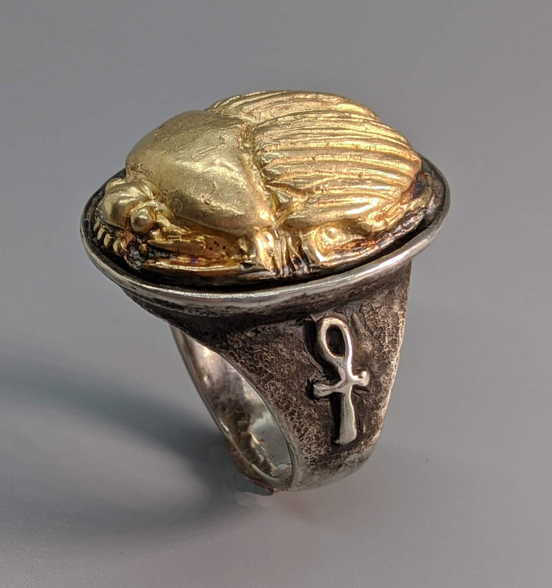 Sterling Silver Ring with 14kt Gold Scarab